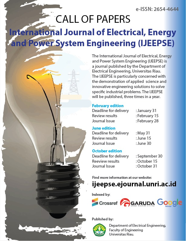 Call for Paper International Journal of Electrical, Energy and Power System Engineering (IJEEPSE)